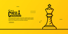 Chess King Linear Illustration On Yellow Background, Concept Of Business Strategy And Management