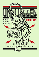 Unplugged Concert Print Design With Tiger For Tee And Poster
