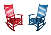 Red Republican And Blue Democrat Political Parties Represented By Empty Rocking Chairs In America