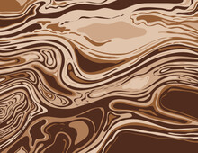 Digital Marbling Or Inkscape Illustration Of An Abstract Swirling Psychedelic, Liquid Marble And Simulated Marbling The Suminagashi Kintsugi Marbled Effect Style Shown In Alabaster And Bistre Brown.