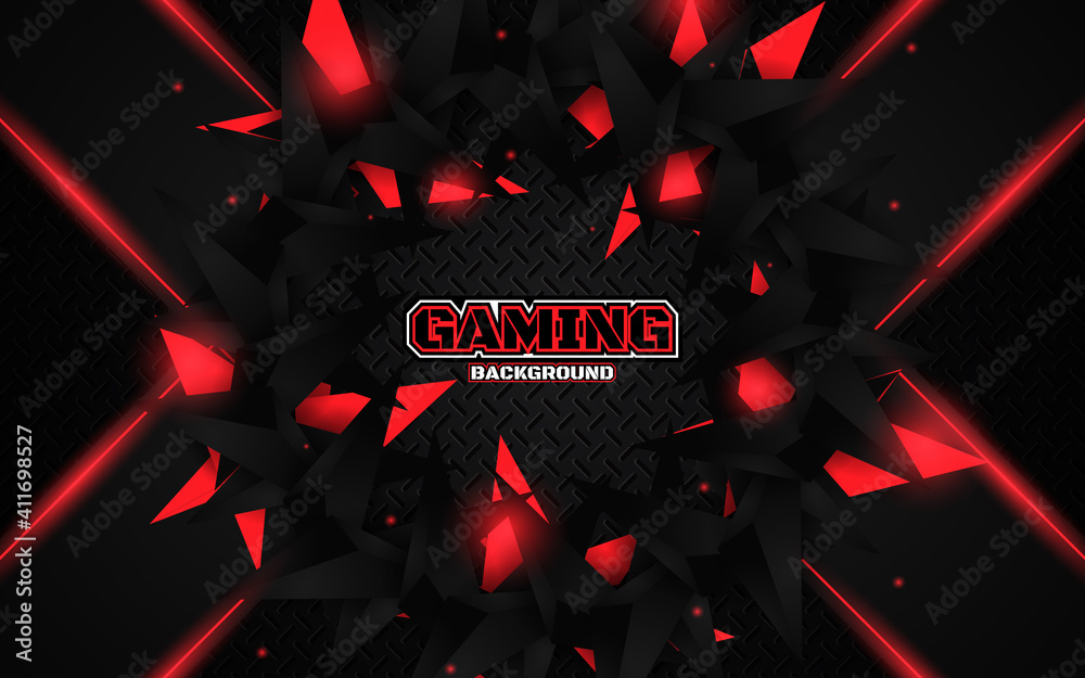 Fototapeta Abstract futuristic geometric black and red gaming background with modern esport shapes. Vector design template technology concept can use element game banner, sport poster, cyber wallpaper, web