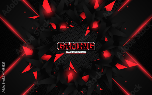 Obraz Abstract futuristic geometric black and red gaming background with modern esport shapes. Vector design template technology concept can use element game banner, sport poster, cyber wallpaper, web - fototapety do salonu