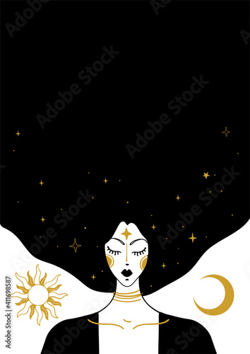 Fototapeta Mystical vector vintage illustration, face of a witch girl with black hair, card with copy space, space background with sun, moon and stars. Concept for meditation, tarot, witchcraft obraz