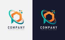Abstract Initial Letter P Digital Tech Logo Design. Vector Logo Illustration.