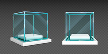 Glass Cube Box On White Stand. Empty Clear Square Showcase On Podium In Front And Angle View. Vector Realistic Mockup Of 3d Acrylic Or Plexiglass Box For Exhibit Isolated On Transparent Background