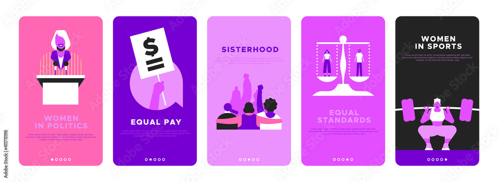 Fototapeta Feminist vertical banner template set for women rights or international social issues event on March 8. Pink flat illustration of girl friends together, woman athlete, equal pay sign and more.
