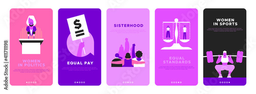 Obraz Feminist vertical banner template set for women rights or international social issues event on March 8. Pink flat illustration of girl friends together, woman athlete, equal pay sign and more. - fototapety do salonu