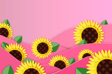 Sunflower Paper Cut Style. Beautiful Nature. Yellow Plant. Summer. Pink Paper Wave Background. Womens Day. Mothers Day.