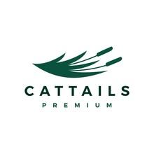 Cattail Grass Logo Vector Icon Illustration