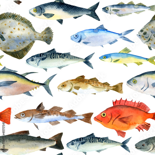 Obraz na plátně watercolor drawing seamless pattern with fishes