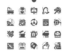 Water Consumption. Water Use In Production. Water For Washing Dishes, Cleaning, Aquarium, Irrigation. World Water Reserves. Vector Solid Icons. Simple Pictogram