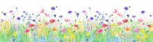 色々な花が咲き乱れる、春の野原の水彩イラスト。横方向シームレスパターン。パノラマ。