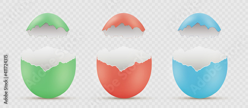 Fotografie, Tablou Easter painted broken eggs. Vector mockup