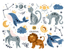 Celestial Boho Sky Animals And Bird Isolated Kids Clipart, Cat, Whale, Lion, Magic Unicorn, Moon And Stars On White Background, Mystical Space Baby Illustration, Vector Design Elements