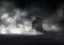 Horror Scene On Old Cemetery Realistic Vector