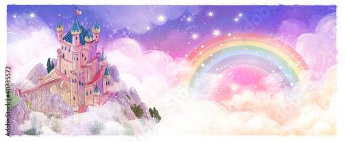 Fototapeta Magic castle in the sky with rainbow