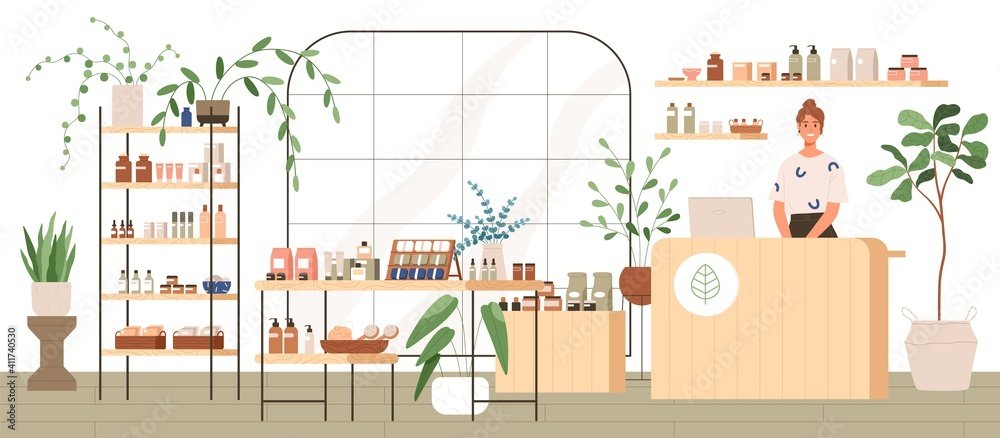 Fototapeta Interior of trendy cosmetics shop with organic natural products for skincare. Smiling seller behind counter in modern eco store with plants and wooden furniture. Colored flat vector illustration