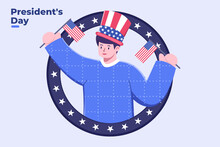 Flat Style Illustration Of Happy President Day, Federal Holiday In America, Happy President's Day Design With People Wear Uncle Sam Hat, United State Of America Or USA Celebrating President's Day