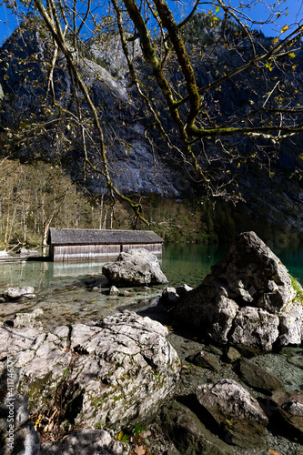 Boat house at the Obersee in Berchtesgadener Land, Bavaria, Germany. © DirkR