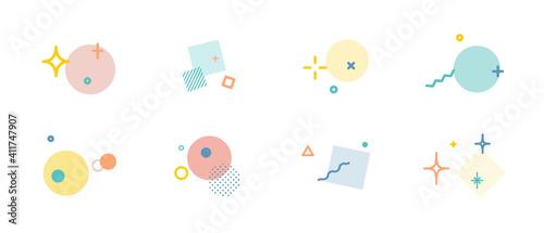 Obraz na plátně キラキラした飾りのアイコンのセット 星 イラスト 装飾 背景 幾何学模様 輝き 素材