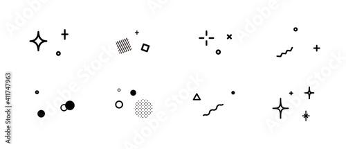 Obraz キラキラした飾りのアイコンのセット 星 イラスト 装飾 背景 幾何学模様 輝き 素材 - fototapety do salonu