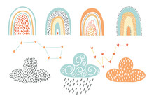 Vector Design Elements. Rainbows, Clouds, And Constellations