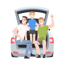 Man And Boy Kid Sitting In Car Trunk Taking Picture Posing Vector Illustration