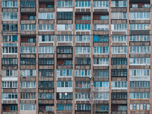 Balconies On A Soviet Era Building. Old Apartment Building. Front View Close Up.