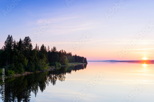 Fototapeta Scenic View Of Lake Against Sky During Sunset