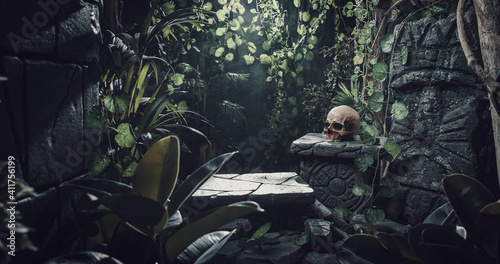 Photo Human skull and ancient ruins in the jungle