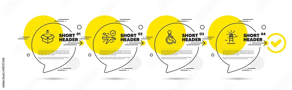 Fototapeta Flight insurance, Disabled and Send box line icons set. Timeline infograph speech bubbles. Lighthouse sign. Full coverage, Handicapped wheelchair, Delivery package. Navigation beacon. Vector