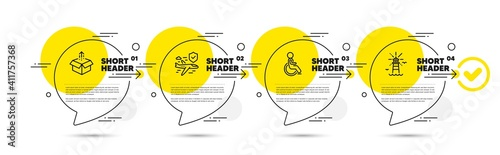 Fototapeta Flight insurance, Disabled and Send box line icons set. Timeline infograph speech bubbles. Lighthouse sign. Full coverage, Handicapped wheelchair, Delivery package. Navigation beacon. Vector obraz