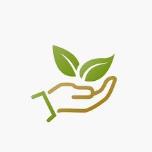 Eco Friendly Icon. Plant Leaves In Hand. Ecology And Save Environment Symbol