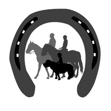 Emblem Riding Club With Silhouettes Of Riders Of All Ages In A Horseshoe