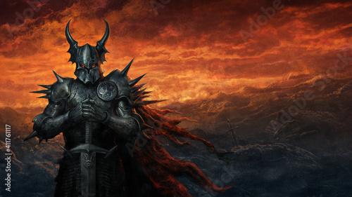 Photographie Dark knight in black armor - digital illustration
