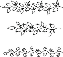 Simple Set Of Decorative Twigs With Leaves. Vector Drawing Ornament From Branches.