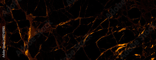 black marble background with yellow veins Fototapet