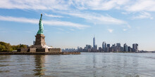 Statue Of Liberty And Manhattan Skyline, New York City, USA