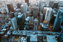 Overhead Aerial Of  Financial District At Dusk, San Francisco, USA
