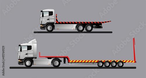Fotografie, Obraz A set of vector images of modern European trucks for the transportation of special equipment