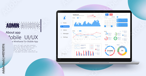 Obraz Dashboard, great design for any site purposes. Business infographic template. Vector flat illustration. Big data concept Dashboard user admin panel template design. Analytics admin dashboard. - fototapety do salonu