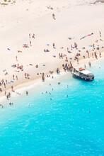 Aerial View Of Beach In Summer With People. Zakynthos, Greek Islands, Greece