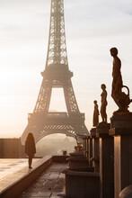 Woman Looking At The Eiffel Tower, Paris, Ile De France, France
