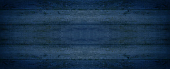 Abstract grunge old dark blue indigo painted wooden texture - wood background panorama long banner