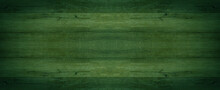 Abstract Grunge Old Dark Green Painted Wooden Texture - Wood Background Panorama Long Banner