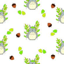 Totoro Studio Ghibli Seamless Pattern Design. Print, Decoration, Card, Texture