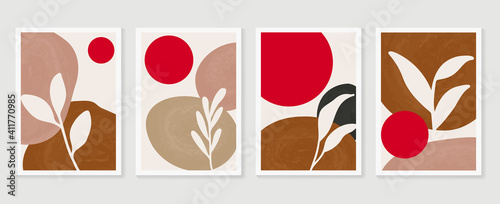 Botanical wall art background vector set Fototapet