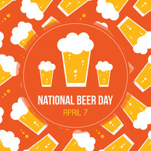 National Beer Day Vector Card, Illustration With Glass Of Lager And Beer Pattern Background.