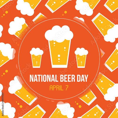 Fototapeta National Beer Day vector card, illustration with glass of lager and beer pattern background.  obraz