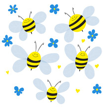 Big Set Of Cartoon Bee Mascot. A Small Bees Flies And Flowers. Wasp Collection. Vector Characters. Incest Icon. Template Design For Invitation, Cards. Doodle Style